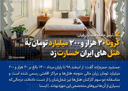 کرونا ۲۰ هزار و ۲۰۰ میلیارد تومان به هتل های ایران خسارت زد